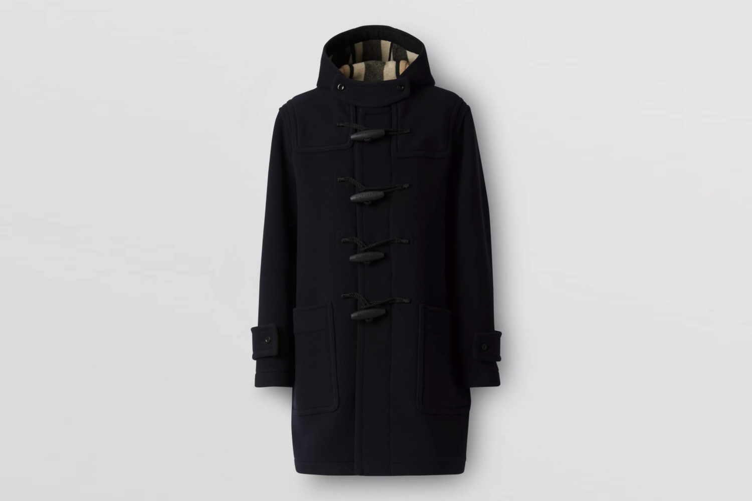 Check-Lined Technical Wool Duffle Coat