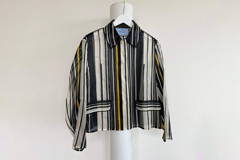 Silk Organza Stripe Printed Jacket