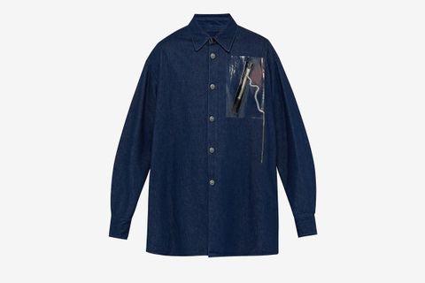Zip-Appliqué Denim Shirt