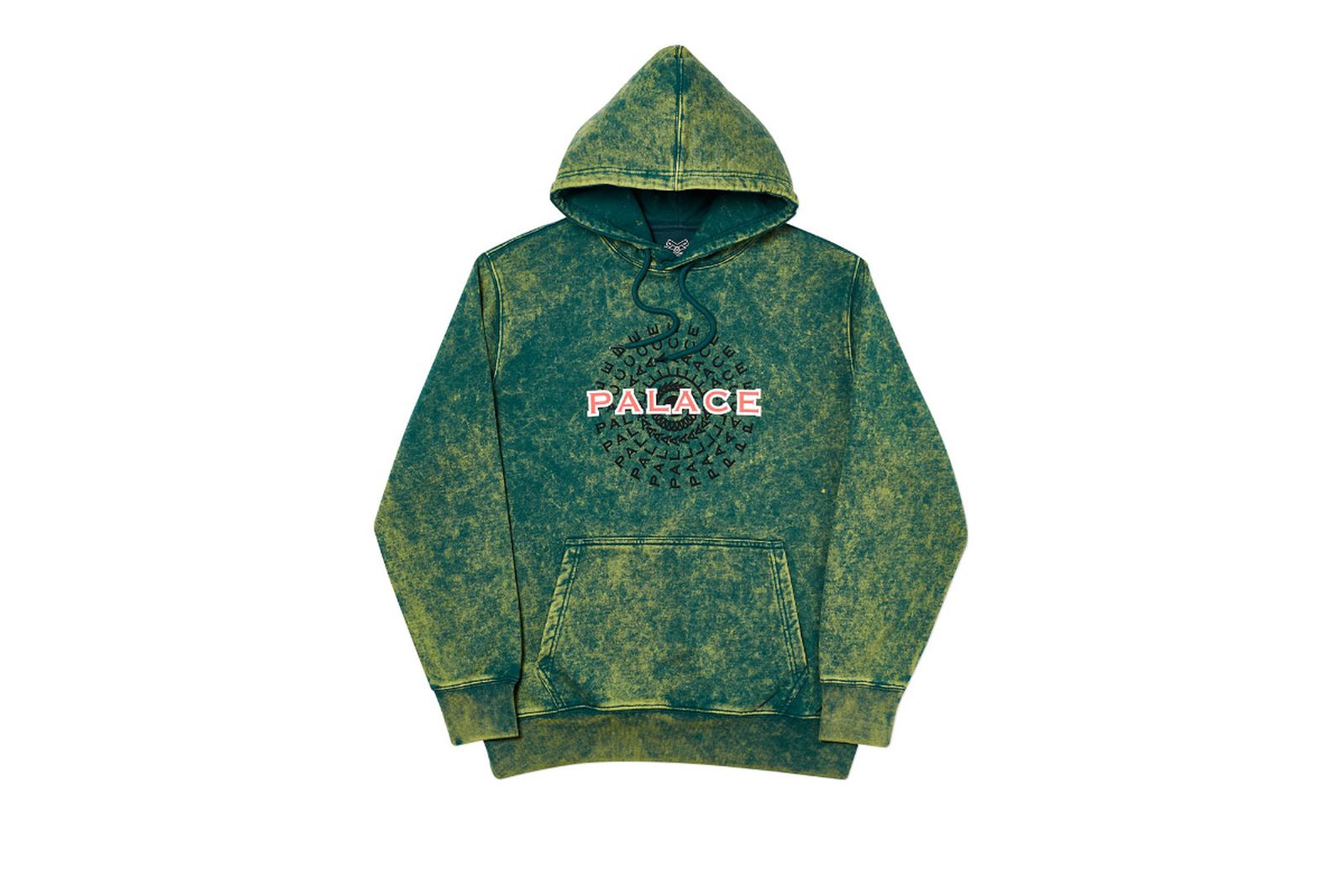 Palace 2019 Autumn Hood Piricle Acid Wash Green Front