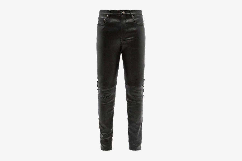 Slim-Leg Leather Trousers