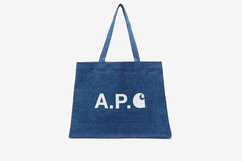 Large Logo-Print Denim Tote Bag