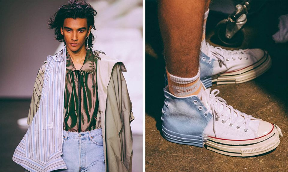 40d49f1169a Feng Chen Wang Deconstructs Levi s Jackets   Converse Chuck Taylors for SS19