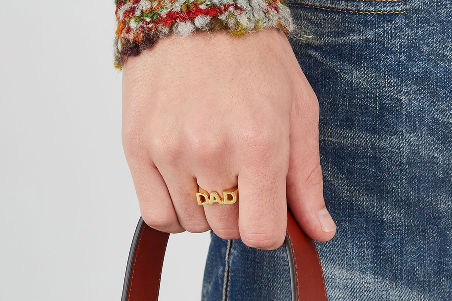 DAD Gold-tone Sterling Silver Ring