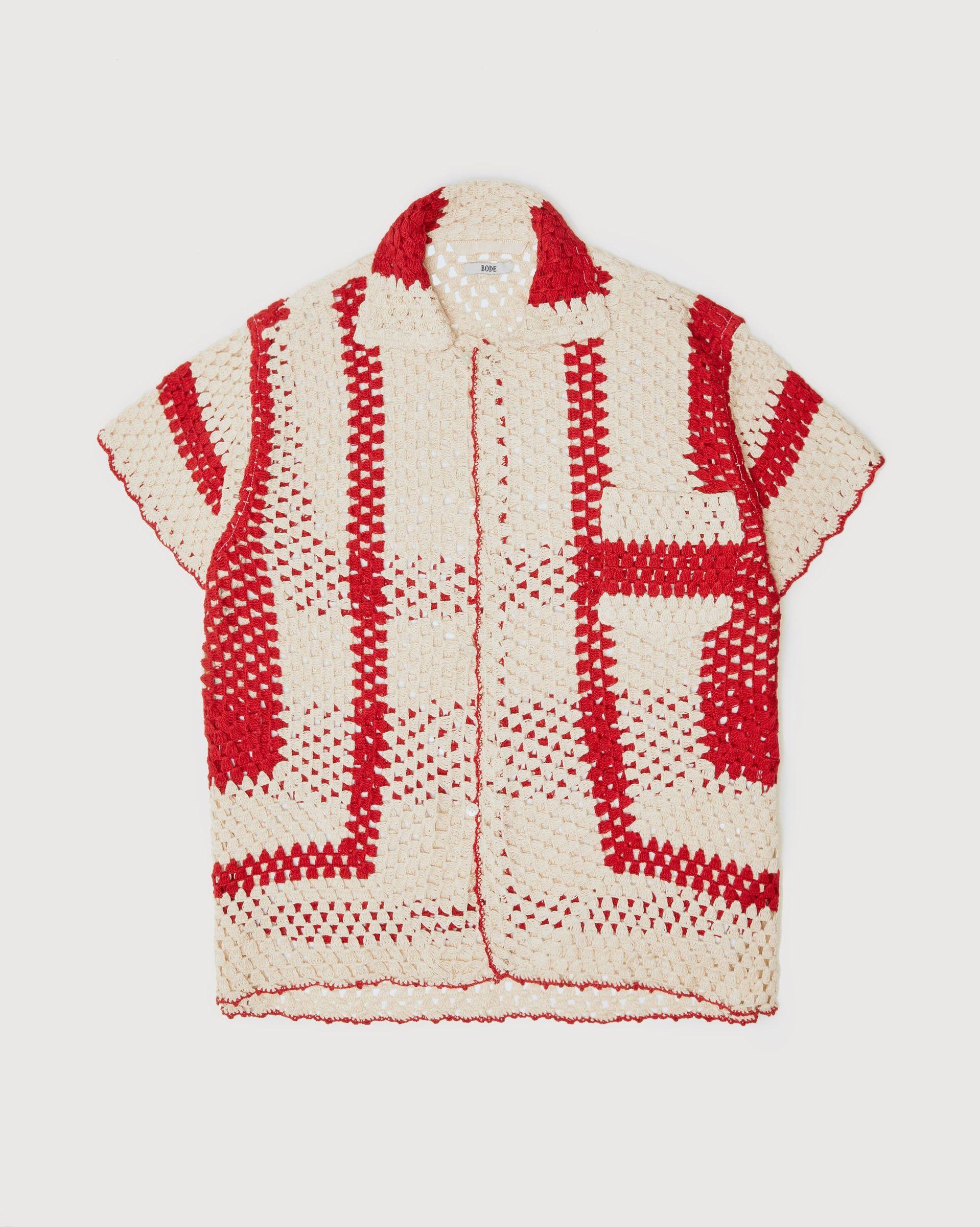 BODE - Crochet Big Top Shirt White Red - Image 1