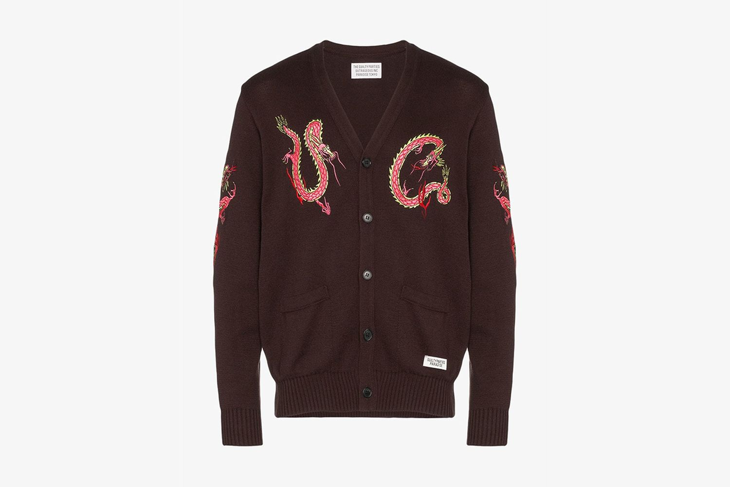Dragon Embroidered Knitted Silk Blend Cardigan