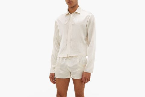 Cropped-hem Drawstring-neck Satin Shirt