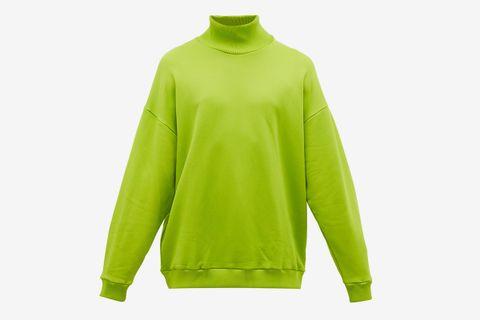 High-Neck Cotton-Blend Jersey Sweatshirt