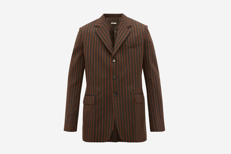 Pinstripe Single-Breasted Wool Blazer