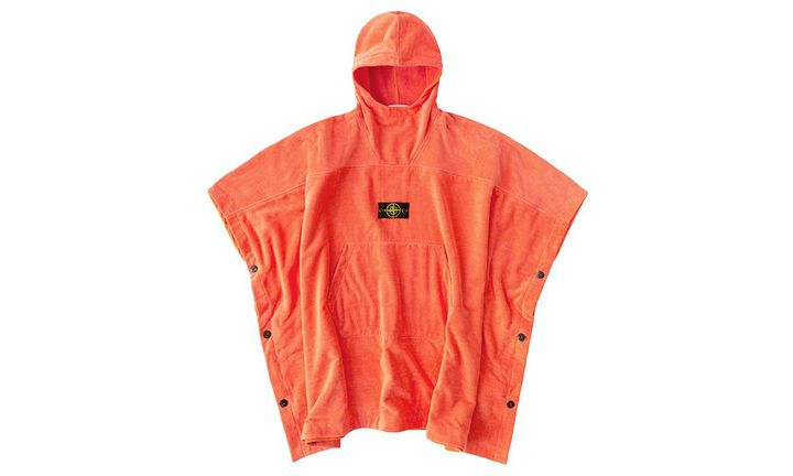 stone island Terry cloth poncho in orange