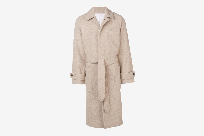 Raglan Sleeves Belted Long Coat