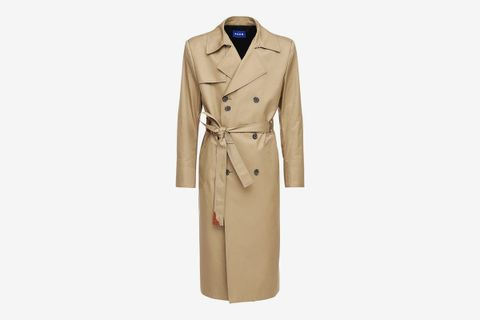 Logo Double Breast Cotton Trench Coat