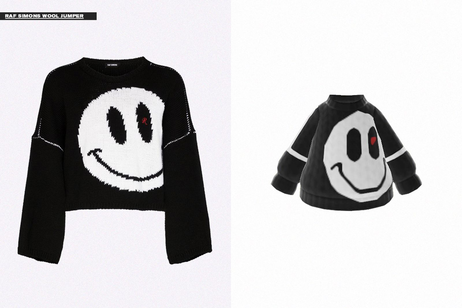 Some pieces from Klarna's virtual 'Animal Crossing' pop-up shop, rendered by Kara Chung of @animalcrossingfashionarchive.