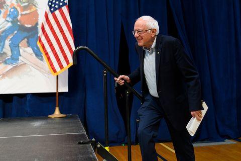 Bernie Sanders walking onto the stage