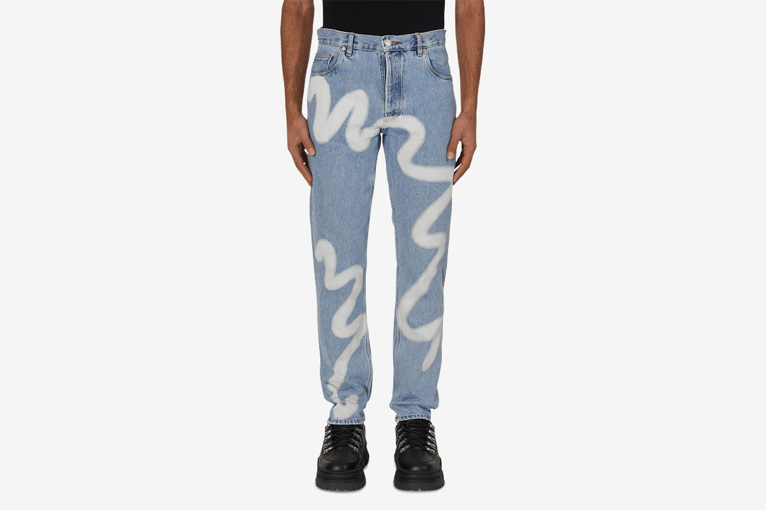 Wavey Print Straight Leg Denim Pants