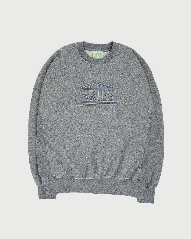 Aries - Embroidered Temple Sweatshirt Unisex Grey - Image 1