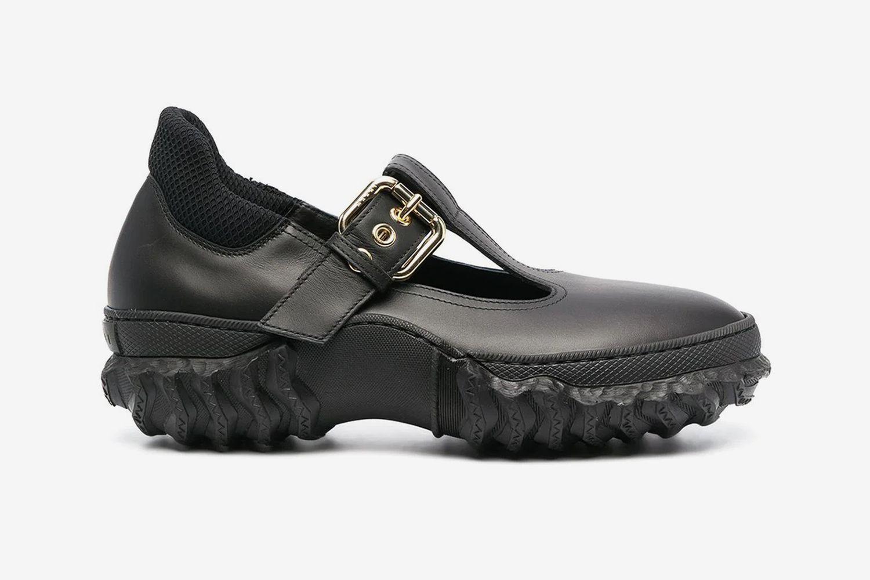 Ridged-Sole Mary Jane Shoes