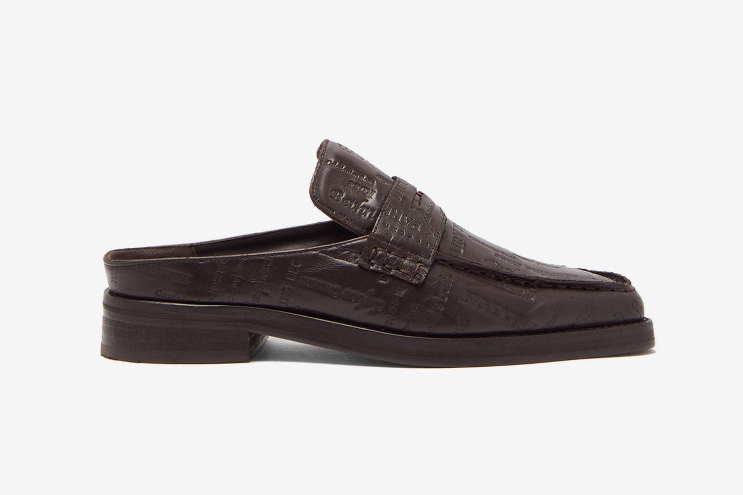 Logo-Embossed Backless Leather Loafers