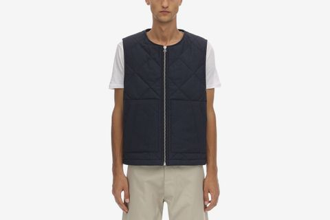 Quilted Wool Zip-up Vest