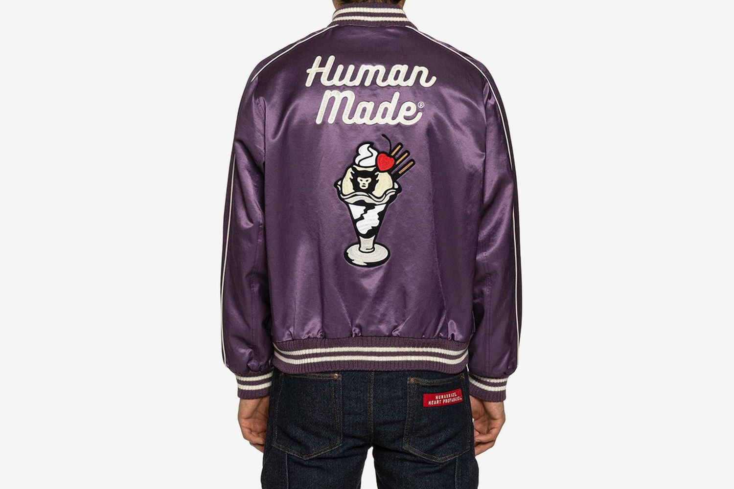 Varsity Satin Jacket Purple