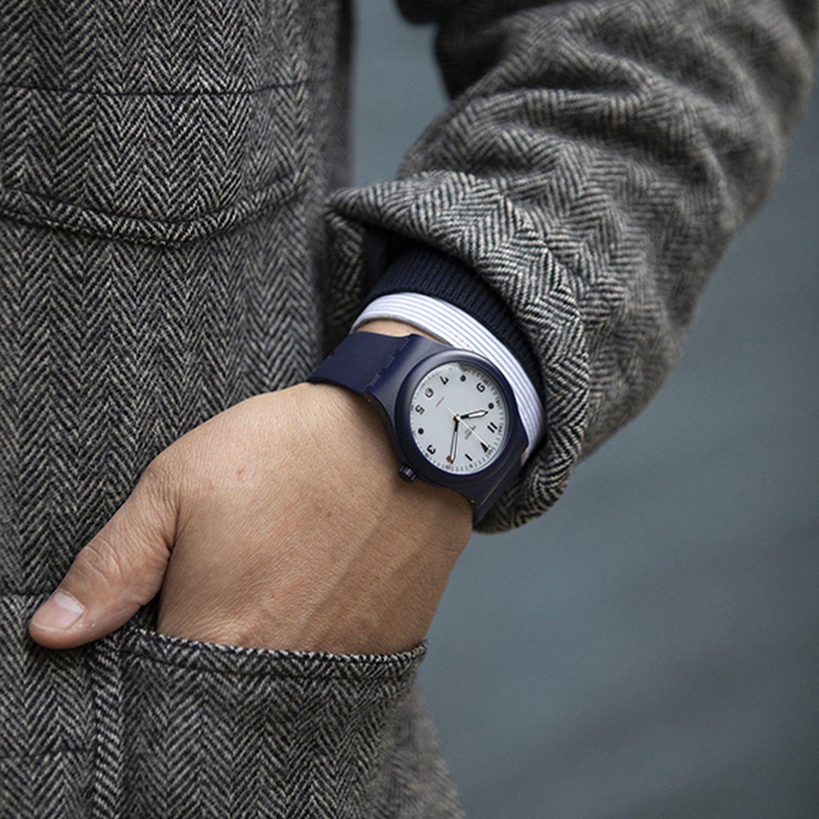 hodinkee swatch sistem51 blue edition watch