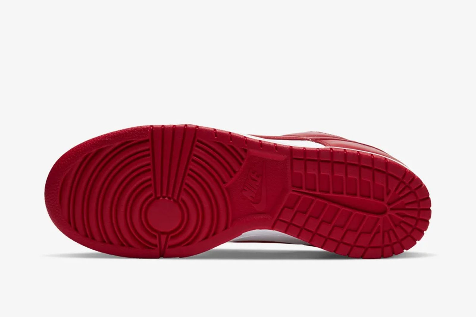 Red and white Nike Dunk Low sole view