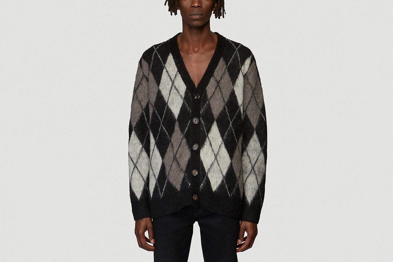 Argyle Monochrome Cardigan in Black size L