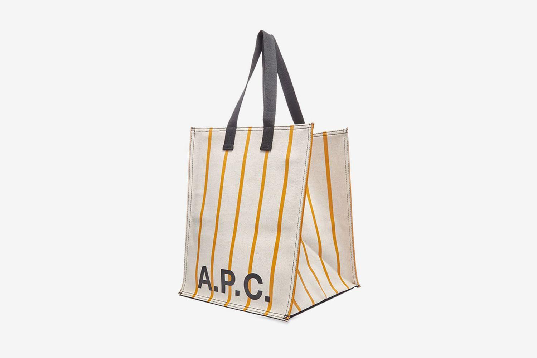 Pinstripe Logo Shopper Bag
