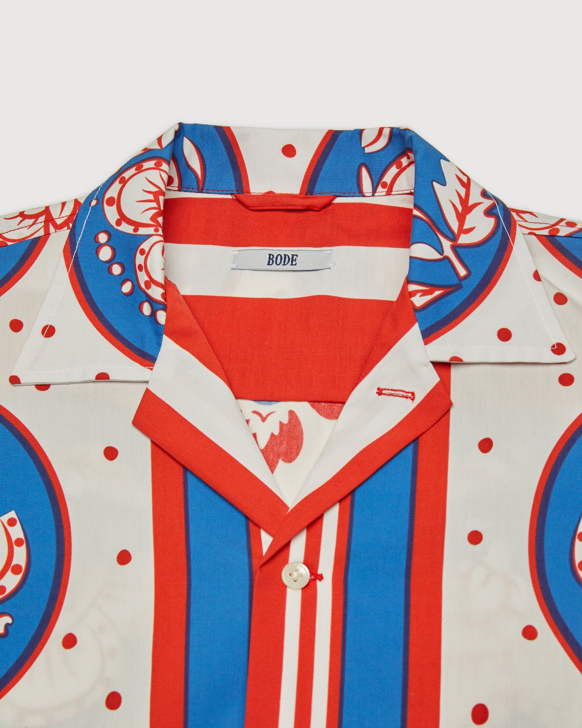 BODE - Oversized Block Print Shirt Blue Red - Image 4
