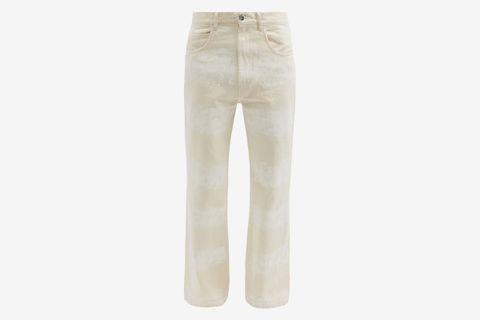 Brushstroke-Striped Cotton Flared-Leg Jeans