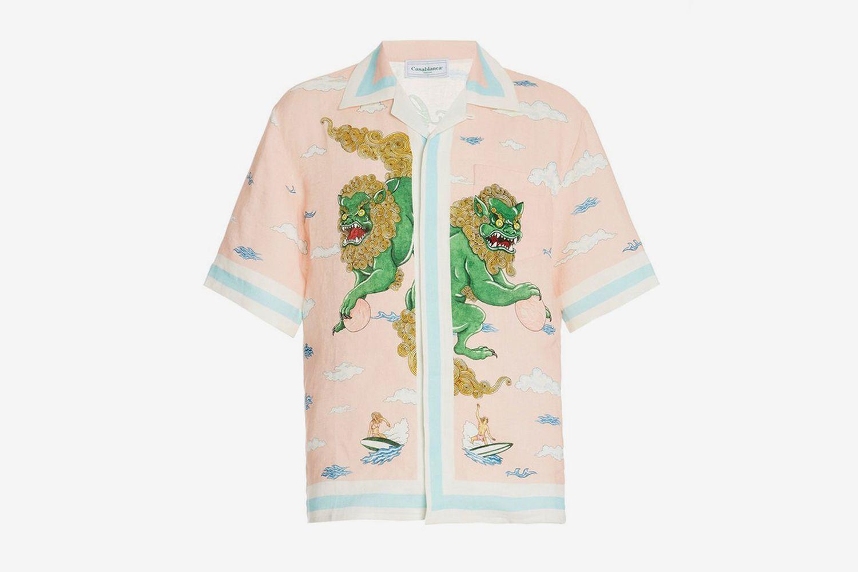 Printed Linen Button-Front Shirt
