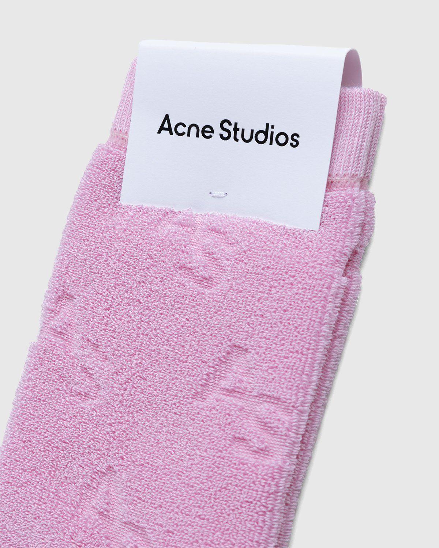 Acne Studios – Cotton Logo Socks Pink - Image 3
