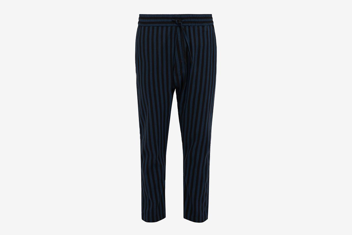 Relaxed Fit Striped Cotton Blend Trousers