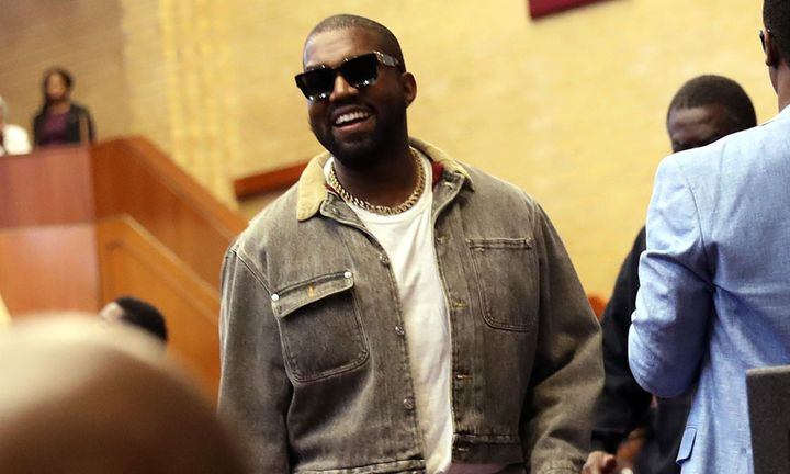 Kanye West smiling Sunday service
