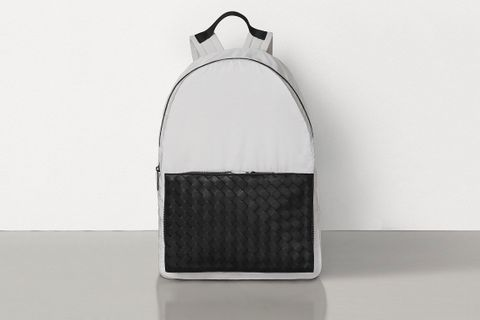 Backpack in Paper Nylon and Woven Leather