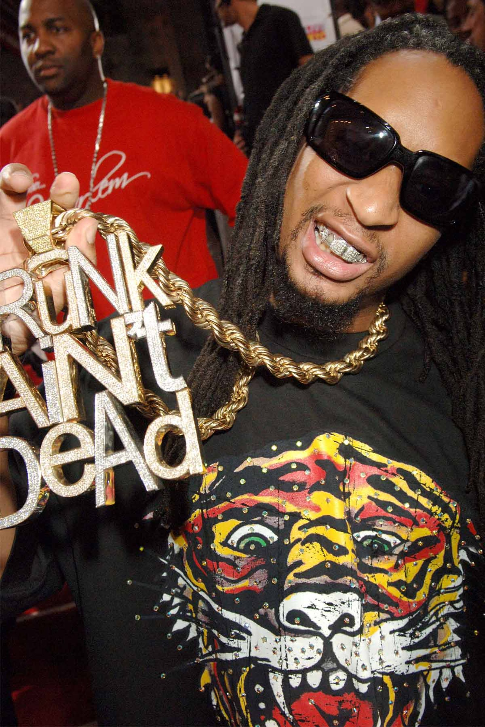 Lil Jon during the 2006 MTV Video Music Awards flaunting his iconic 'Crunk Ain't Dead' chain.