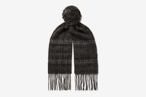 Fringed Checked Wool-Blend Scarf