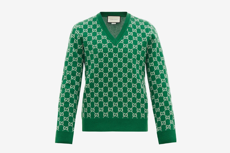 V-neck Gg-Jacquard Wool-Blend Sweater