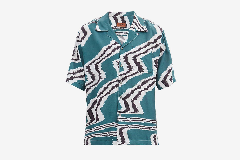 Cuban-Collar Zigzag-Print Crepe Shirt