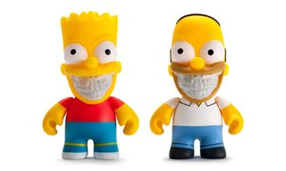 """Kidrobot Releases Bart & Homer Simpson """"Grin"""" Toys Designed by Ron English"""