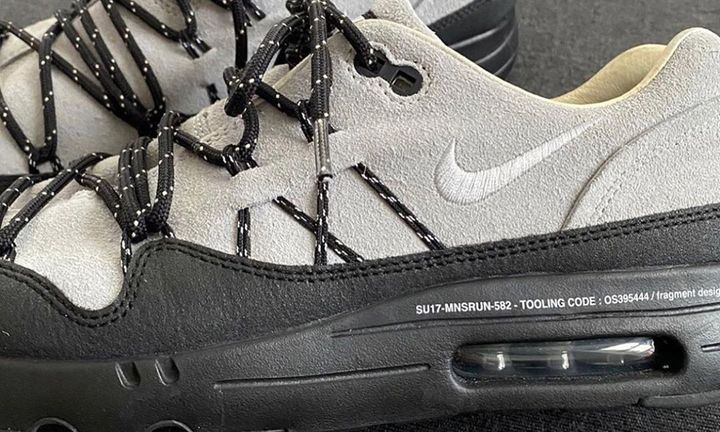 Side profile view of Hiroshi Fujiwara's Nike Air Max 1 in grey and black