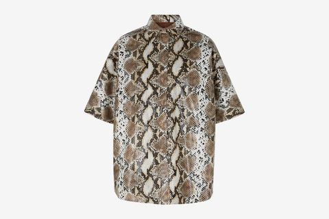 Coated Snake-print Shirt
