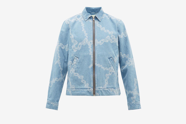 Chain Print Cotton Denim Jacket