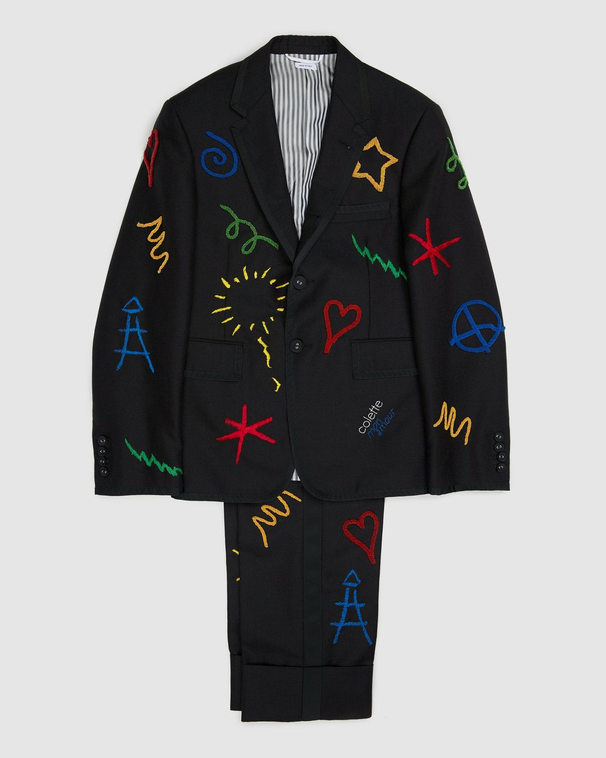 Colette Mon Amour x Thom Browne — Black Embroidered Tux Suit - Image 1