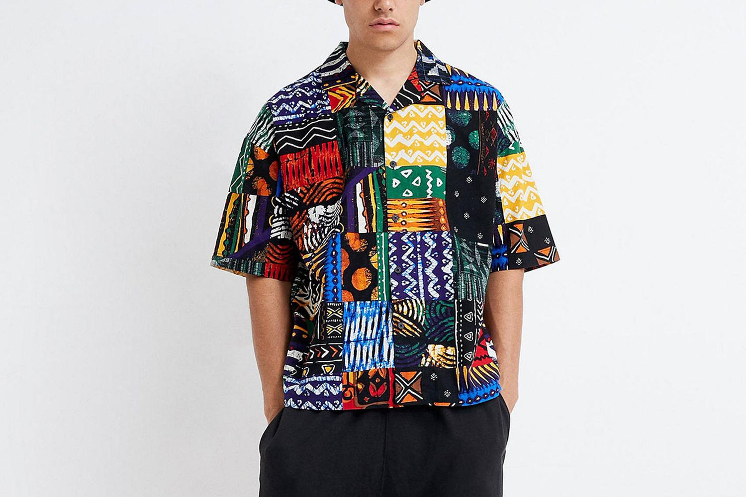 Patchwork Print Button-Down Short Sleeve Shirt