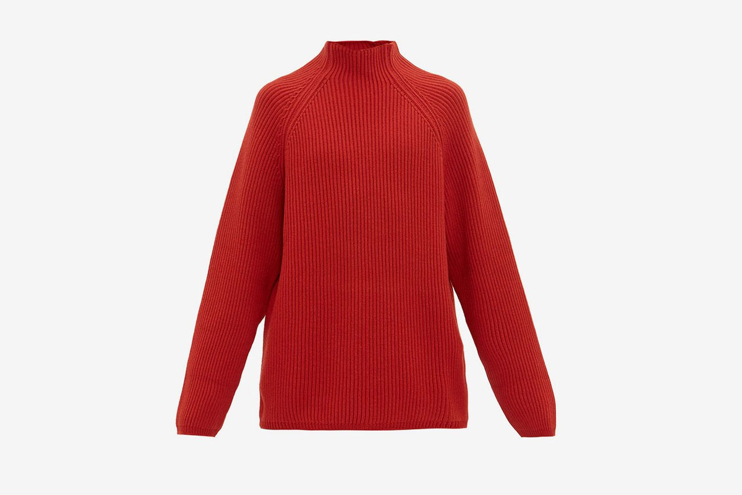 Funnel Neck Ribbed Wool Sweater