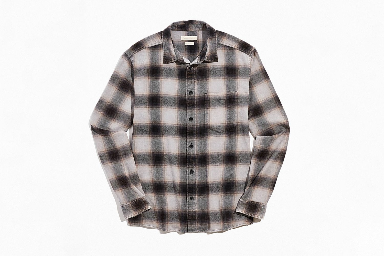 Vintage Acid Wash Flannel Button-Down Shirt