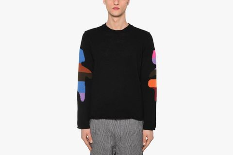 Jacquard Wool Blend Knit Sweater