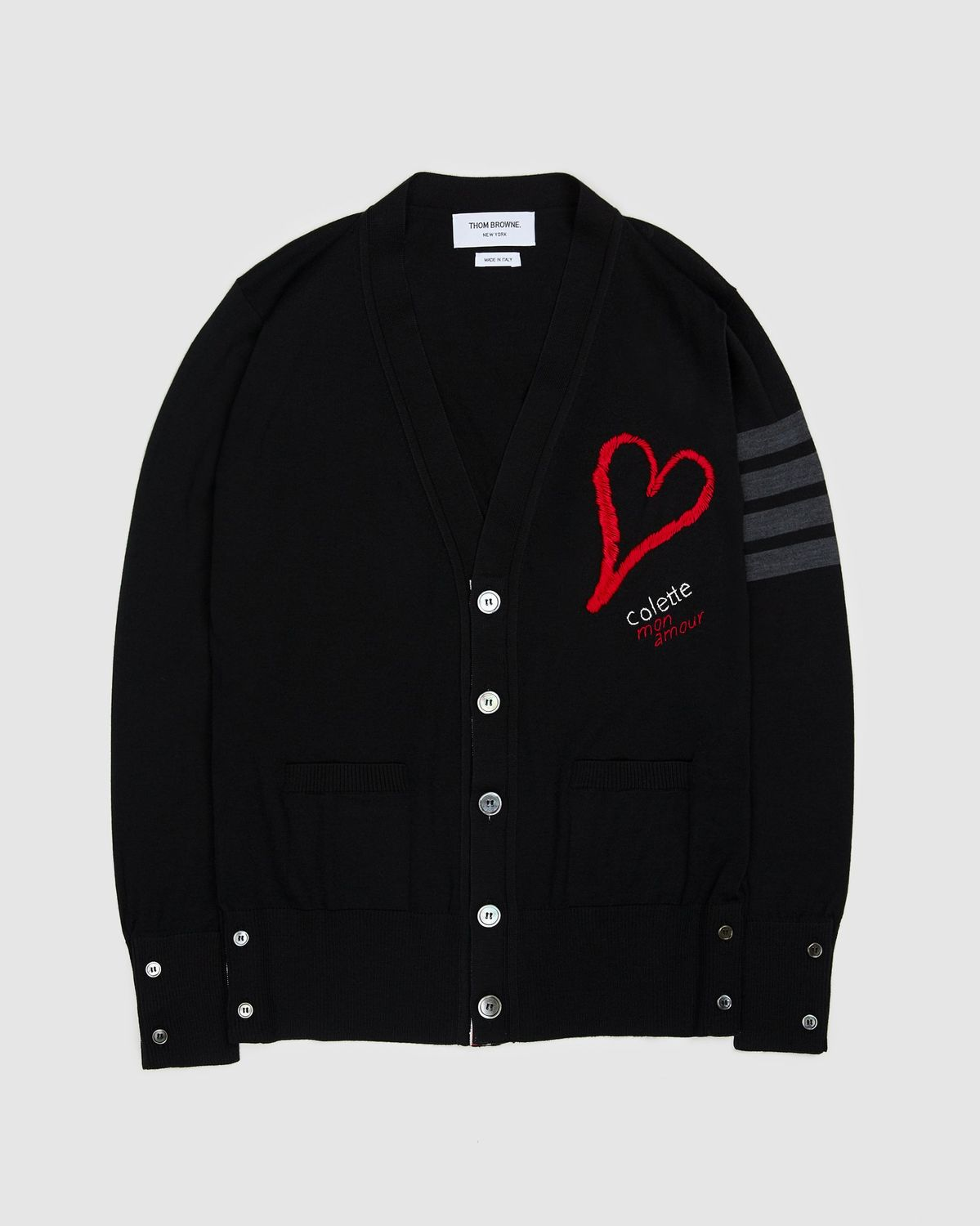 Colette Mon Amour x Thom Browne - Black Heart Cardigan - Image 1