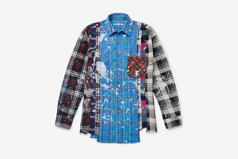 Paint-Splattered Flannel Shirt